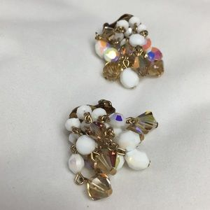 Vintage Jewelry - Vintage Amber Topaz, AB Milk Glass Dangle Earrings